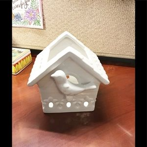Ceramic Votive Candle Holder, White, Birdhouse